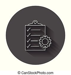 Document vector icon. Project management flat illustration with long shadow.