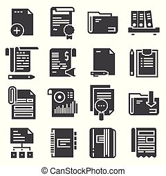 Document vector icons set on white background