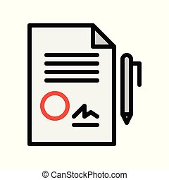 Document vector, insurance related filled style editable stroke icon