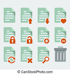 document, vector, stijl, 'flat', set, iconen