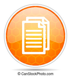 Document web icon. Round orange glossy internet button for webdesign.