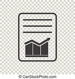 Document with chart symbol. Flat vector illustration