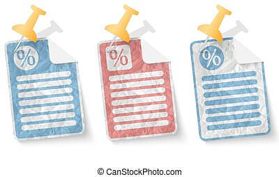 document with crumpled paper and percent symbol