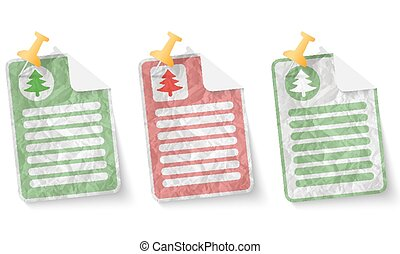 document with crumpled paper and tree symbol