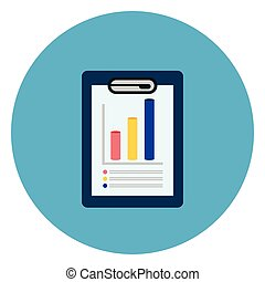 Document With Data Charts Icon Web Button On Round Blue Background