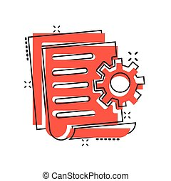 Document with gear icon in comic style. Big data processing ...