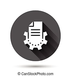 Document with gear icon in flat style. Big data processing ...
