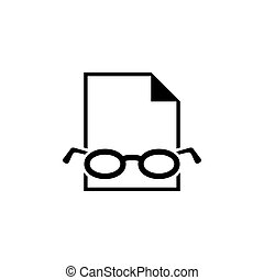 Document with Glasses, Checking Grammar Spelling Error Flat Vector Icon