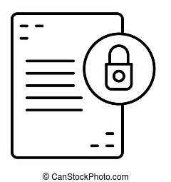 Document with lock thin line icon. List with padlock vector illustration isolated on white. Document protection outline style design, designed for web and app. Eps 10.
