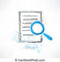 Document with magnifer grunge icon