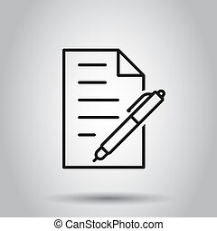 Document with pen icon in flat style. Notepad vector illustration on isolated background. Office stationery business concept.