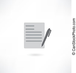 document with pen - vector icon