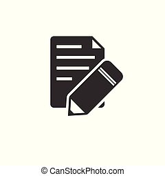 document with pencil icon Black. vector. Illustrator. on white background. symbol