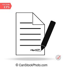 Document With Pencil Icon on white background.
