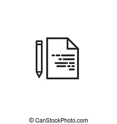Document with pencil line icon in simple design on a white background