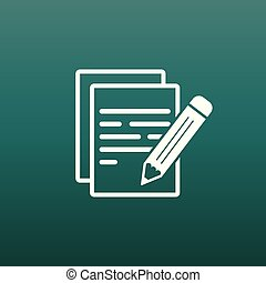 Document with pencil pictogram icon. Simple flat illustration for business, marketing internet concept on green background. Trendy modern vector symbol for web site design or mobile app