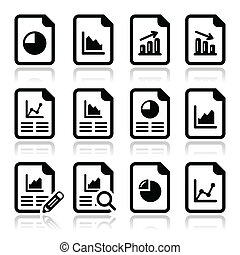 Document with pie chart, graph icon - Vector icons set of...