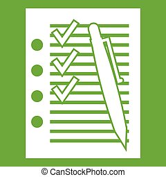 Document with plan and pen icon green