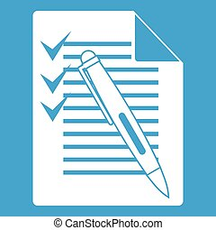 Document with plan and pen icon white