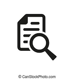Document with search icon on white background.