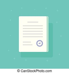 Document with stamp vector icon, flat cartoon paper doc application page with approval seal and text, idea of legal agreement form, license or certified contract symbol isolated