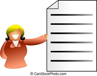 business woman holding up a document - icon people series