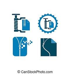document zip file vector icon illustration design template