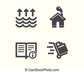 documentation., 家, ベクトル, 押し, インフォメーション, テクニカル, カート, 印。, 蒸発, icons., 家, 建物, 暖まること, 世界的である
