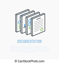 Documentation isometric illustration - Documents and papers....