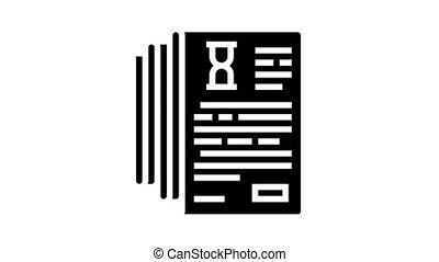 documentation lists heap animated glyph icon. documentation lists heap sign. isolated on white background