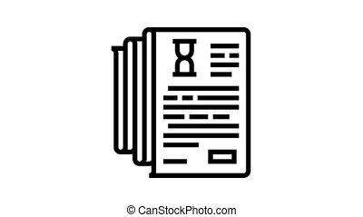 documentation lists heap animated black icon. documentation lists heap sign. isolated on white background