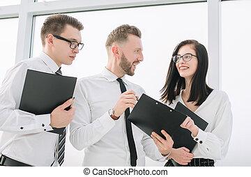 documenten, het bespreken, plan, handel team