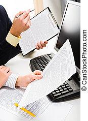 documenten, in, handen