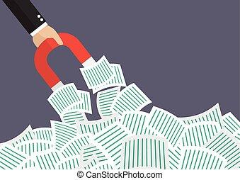 documenten, magneet, partij, zakenman, houden, het bekoren