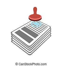 documenten, postzegel, officieel, punch, contract., goedkeuring, icon., document