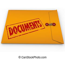documenti, busta, giallo, dischi, importante, sigillato,...