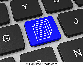 documenti, chiave, su, tastiera, di, laptop, computer.