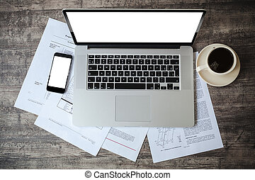 documenti, cima, posto lavoro, laptop, vista