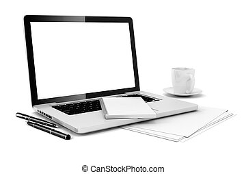 documenti, computer, 3d, scrivania ufficio