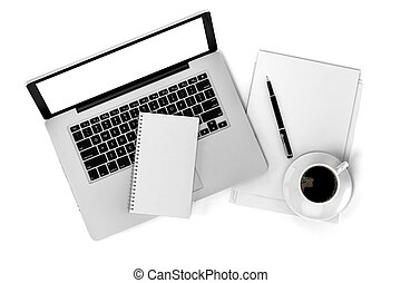 documenti, ufficio, cima, scrivania, vista, laptop, 3d
