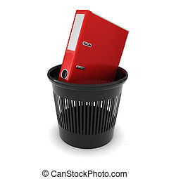 documenti, ufficio, interpretazione, trash., nero, cartella, rosso, 3d