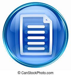 documento, ícone, azul
