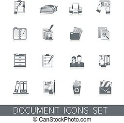 documento, ícone, pretas