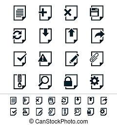 documento, ícones