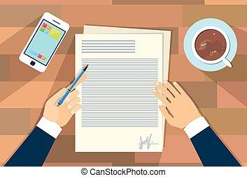 documento, assinando, homem, contrato, negócio, acordo, cima