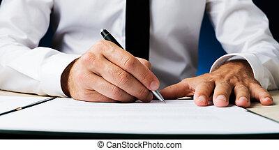 documento, assinando, homem negócios