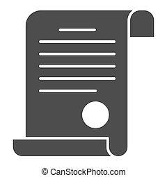 documento, blanco, concepto, icono, icono, diploma, glyph, señal, escuela, graphics., estilo, plano de fondo, vector, sólido, tela, concepto, estampilla, móvil, design., certificado