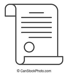 documento, blanco, concepto, icono, icono, diploma, señal, contorno, escuela, graphics., estilo, plano de fondo, vector, tela, delgado, concepto, estampilla, móvil, design., línea, certificado