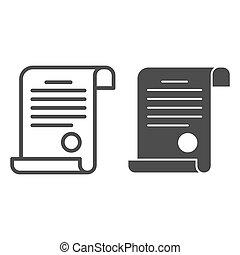 documento, blanco, concepto, icono, icono, diploma, señal, contorno, escuela, graphics., estilo, plano de fondo, vector, sólido, tela, concepto, estampilla, móvil, design., línea, certificado