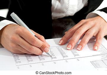documento, caneta, Revisar, femininas, mãos